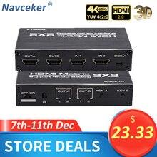 2020 Best 4K@60Hz HDMI Matrix 2x2 Switch Splitter Support HDCP 1.4 IR Remote Control HDMI Switch 2 In 2 Out HDMI Matrix Switch