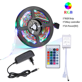 5M RGB LED Strip 2835 DC 12V Not-Waterproof Flexible Diode Tape Ribbon Fita Tira LED Light Strips With Remote + Adapter for part image