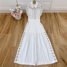 Baogarret  New Hollow-out Rivet White Black Wide Leg Jumpsuits Women Clothing Runway Designer High Quality Sexy Bodysuits