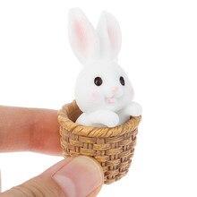 1/2 pçs miniaturas coelho páscoa lebre animal estatueta resina artesanato mini casa decoração do bolo acessórios de mesa escritório fada jardim