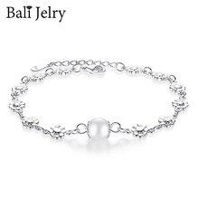 BaliJelry Trendy bransoletka perłowa srebro 925 biżuteria kształt kwiatu akcesoria bransoletki dla kobiet ślub zaręczyny Dropshipping