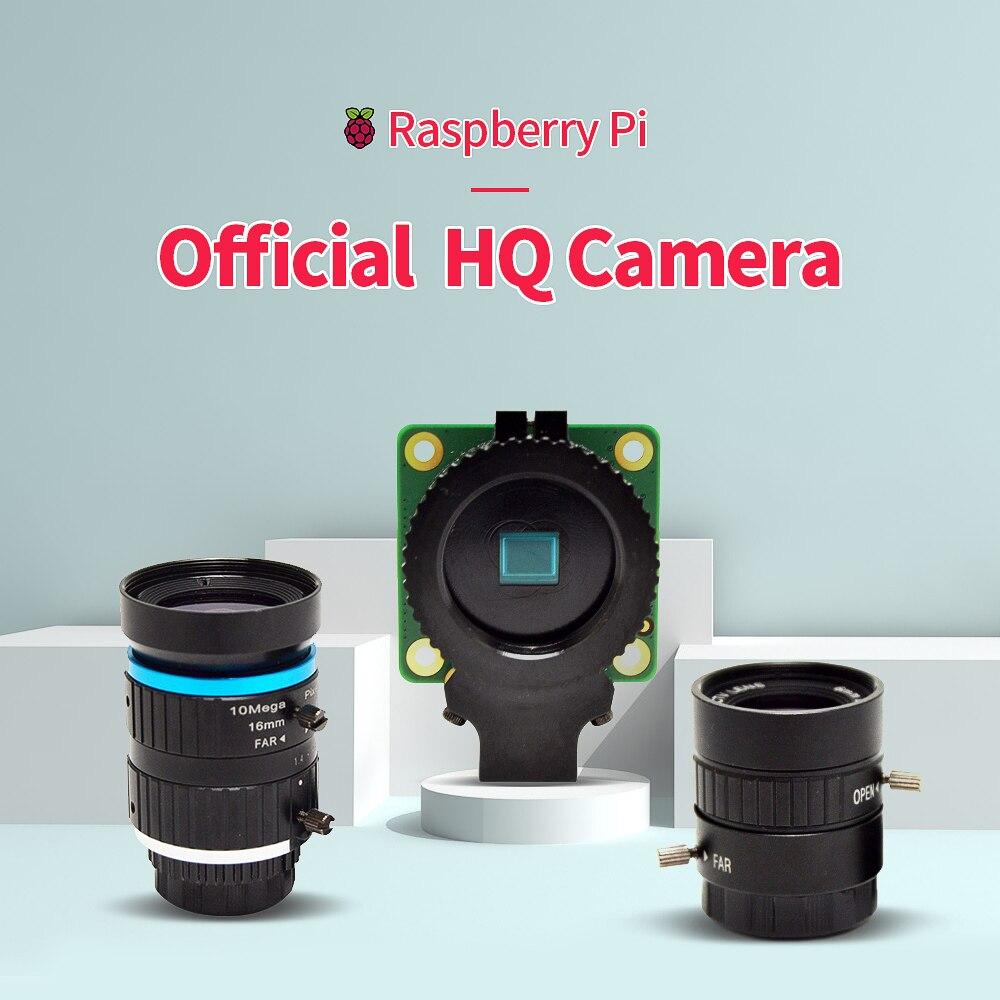 Raspberry pi hq câmera 12.3 megapixel sensor de alta resolução sony imx477 e lente de 6mm/16mm lente telefoto para 4b/3b +