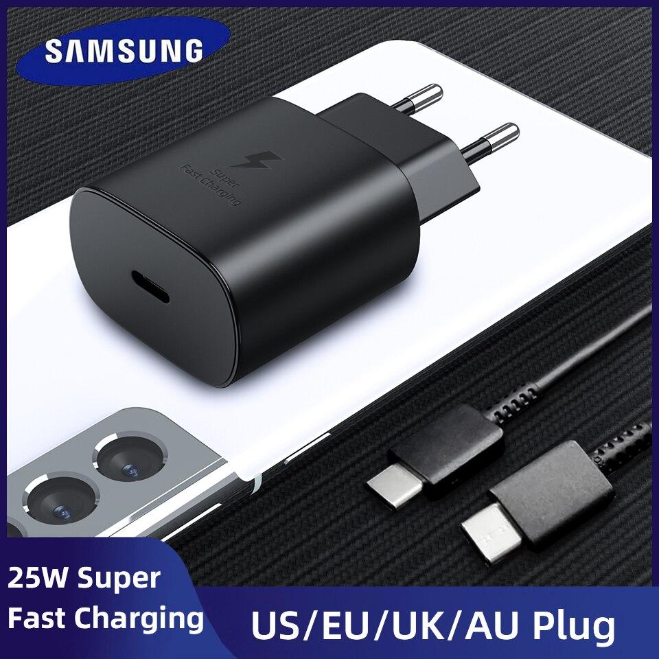 Pour Samsung S21 Note 20 10 A70 chargeur Super rapide Cargador 25W adaptateur secteur ue pour Galaxy Note20 S20 A90 A80 S10 5G câble type