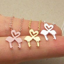 2019 Popular New Loved Flamingos Pendant Necklace Animal Senior Jewelry Women Like Stainless Steel