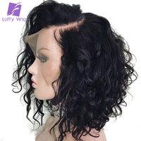 Short Water Wave Bob Wig 13x6 Lace Front Human Hair Wigs Bleached Knots Preplucked For Women Glueless Remy Brazilian Wig Luffy