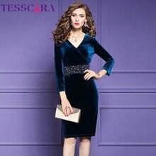 TESSCARA נשים יוקרה ואגלי קטיפה שמלת Festa נשי אלגנטי מסיבת גלימה באיכות גבוהה מותניים מעצב בציר קוקטייל Vestidos