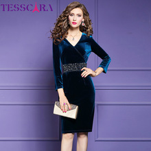 TESSCARA Women Luxury Beading Velvet Dress Festa Female Elegant Party Robe High Quality Waist Designer Vintage Cocktail Vestidos
