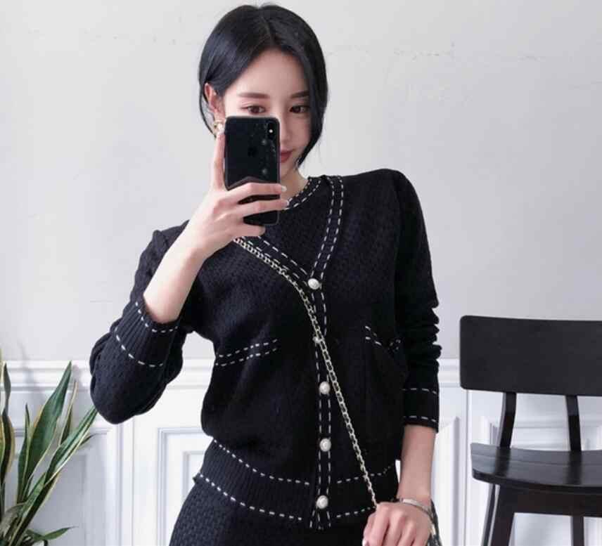 2019 חדש סרוג סוודר שמלת סט אופנה טמפרמנט V-צוואר פנינת כפתור לסרוג קרדיגן מעיל קצר עם שרוולים שמלת 2 חתיכה סט