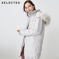 SELECTED Winter Women's Solid Color Outwear Braid Hair Hooded Loose Down Jacket Coat S   418412552