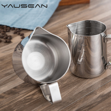 цена на 2019 Quality stainless steel pull coffee cup with graduated measuring pull flower cup cylinder milk foam pot fancy Kitchen tools