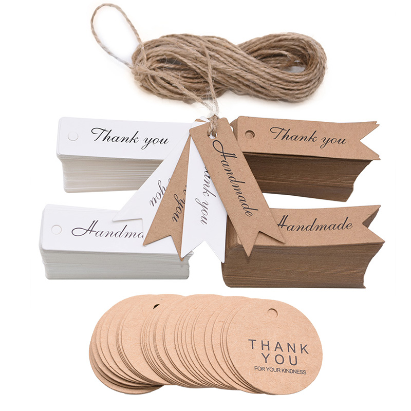 100pcs White Kraft Paper Gift Hang Tags with Rope Product Labels Tag Wedding Party Favor Cookies Candy Bag Packaging Supplies-0