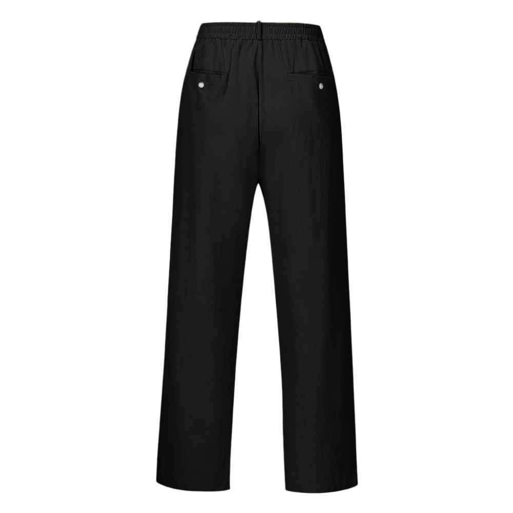 H9f7897f16a6043fcaf73fb6d5a073f1ei Feitong Fashion Cotton Linen Pants Men Casual Work Solid White Elastic Waist Streetwear Long Pants Trousers
