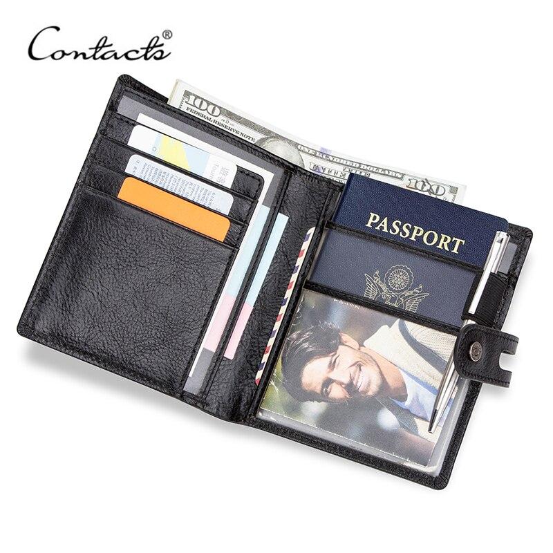 CONTACT'S-cartera multifunción de cuero genuino para pasaporte para hombre, monedero pequeño, tarjetero, Portfel informal, corta, color negro