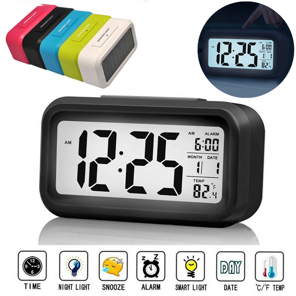 Lcd Digital Snooze Electronic Alarm Clock For Kids Backlight Night Light Control Digital Display Electronic Alarm Clock Hot Sale Alarm Clocks Aliexpress