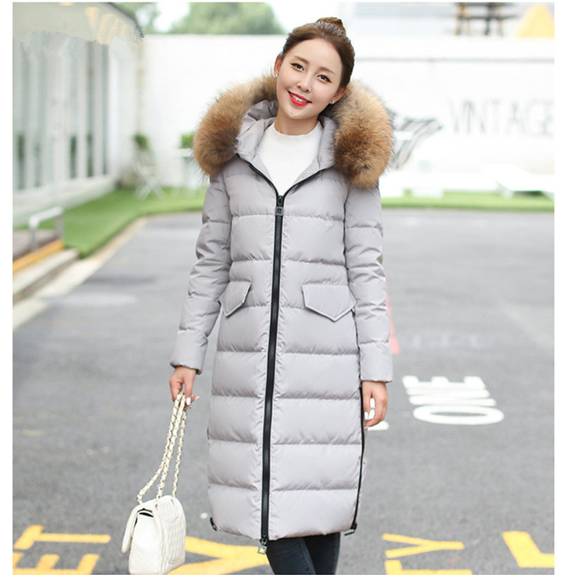 Mujer Parkas 2020 Women Raccoon Fur Collar Jackets Women's Warm Winter Coat Female White Duck Down Jacket Inverno WXF289 's