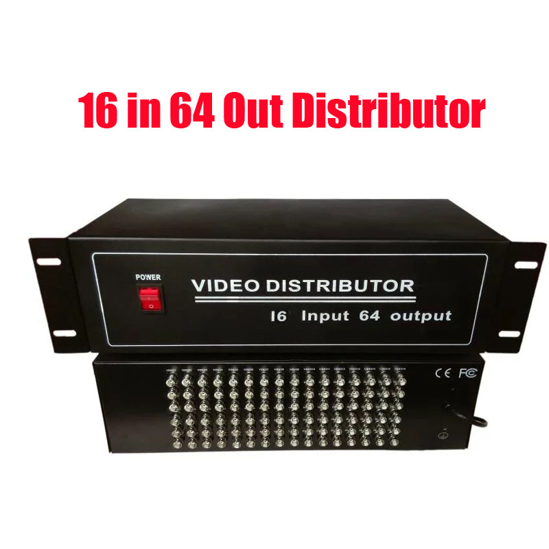 BNC Video Distributor 16 In 64 Out Composite Amplifier 16CH To 64CH Splitter For CCTV Security Camera DVR System image