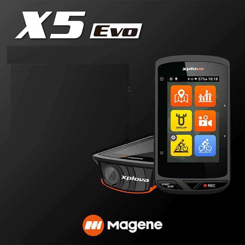 Magene Xplova X5 Diaktifkan Tahan Air GPS Sepeda Komputer Speedometer Dukungan Power Irama Denyut Jantung Video Layar Sentuh