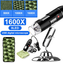 1600X Hand Held Endoscope 8LED Computers Mobile Phones Photos Ear Cleaning Tool Digital Microscope Portable Black Inspection