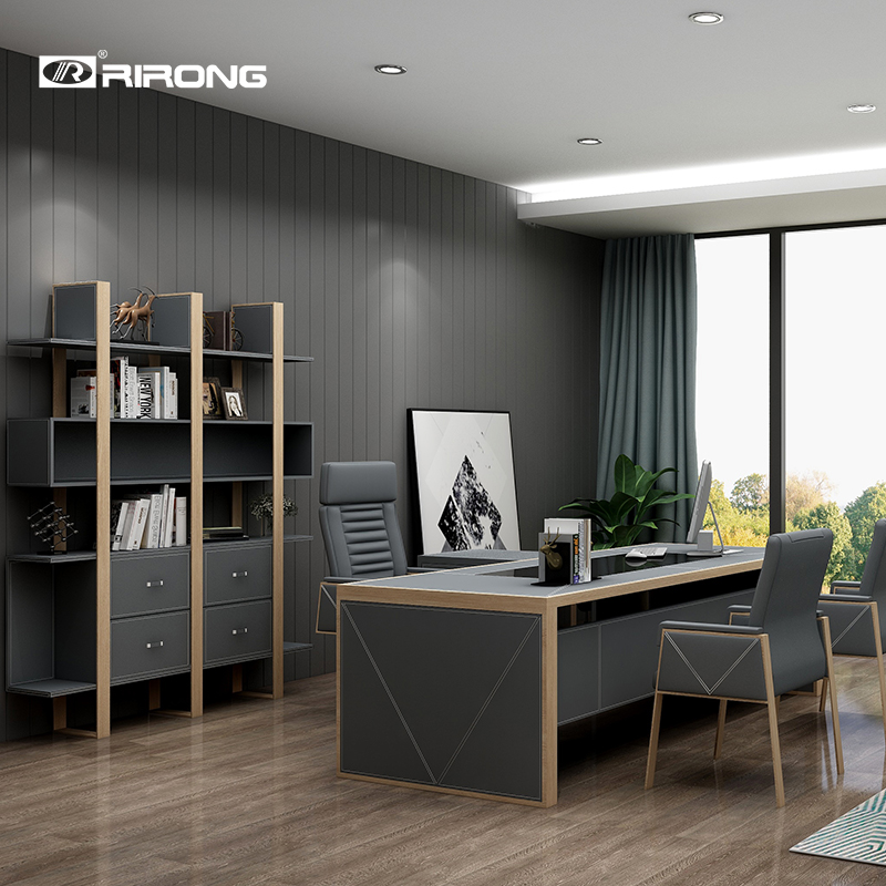 Grey Wooden Leather Office Home Study Room Furniture Small Computer Table Desk Set Standing Executive Tables Desk