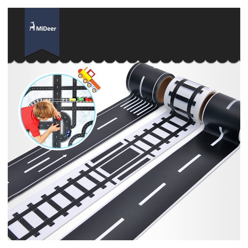 Railway Road Highway Tape Creative Traffic Road Track Scene Adhesive Masking Paper Tape Sticker For Kids Toy Car Play
