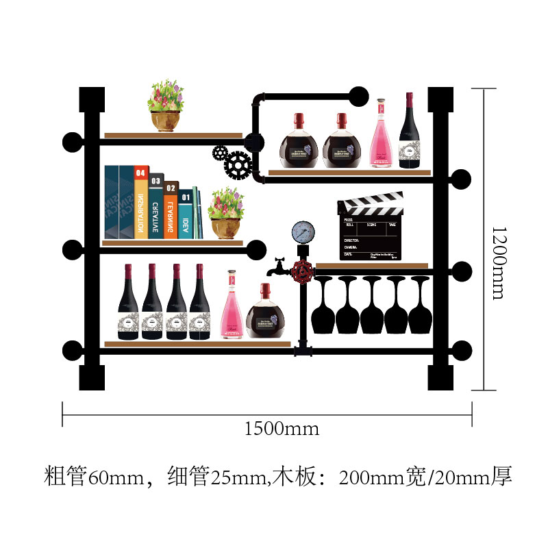 Bottle Organizer For Wine Rack Storage Retro Design Wine Display House Decoration Art TV Cabinet Made Of Iron Pipes And Boards