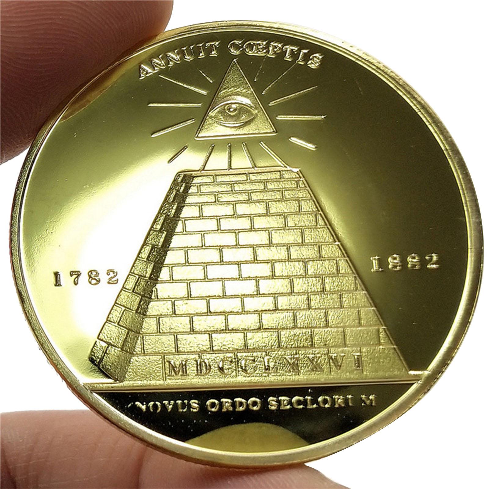 Памятная монета масонский глаз, пирамида, круглая Золотая монета, коллекция монет