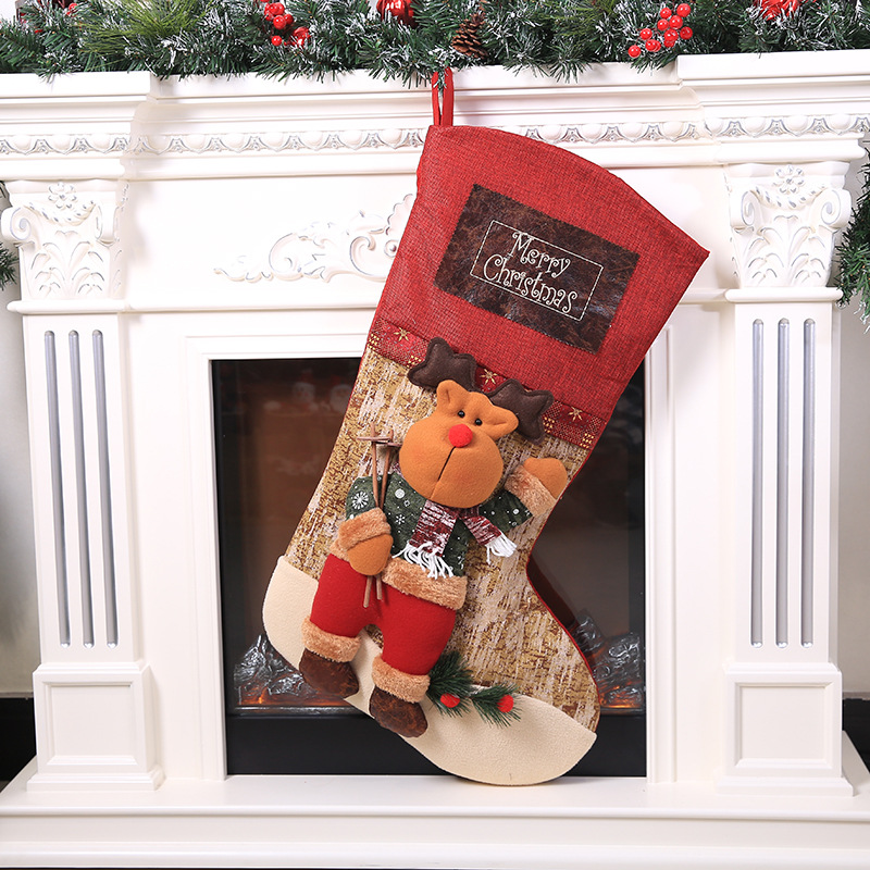 Christmas Day Decorations Santa Claus Snowman Elk Socks Extra Large Christmas Tridimensional Sock Christmas Gift Bag Extra Large