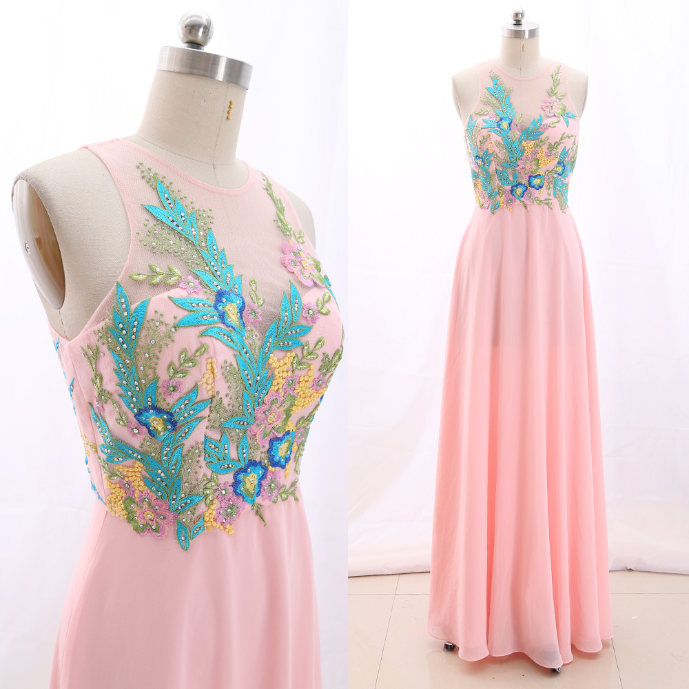 MACloth Pink A-Line O Neck Floor-Length Long Embroidery Chiffon   Prom     Dresses     Dress   S 266419 Clearance