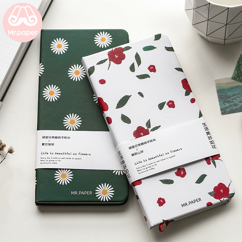Mr Paper 4 Designs Traveling Notebook Flower Fruits Yakult Recording Journal Yearly Monthly Weekly Daily Notebooks Easy To Carry