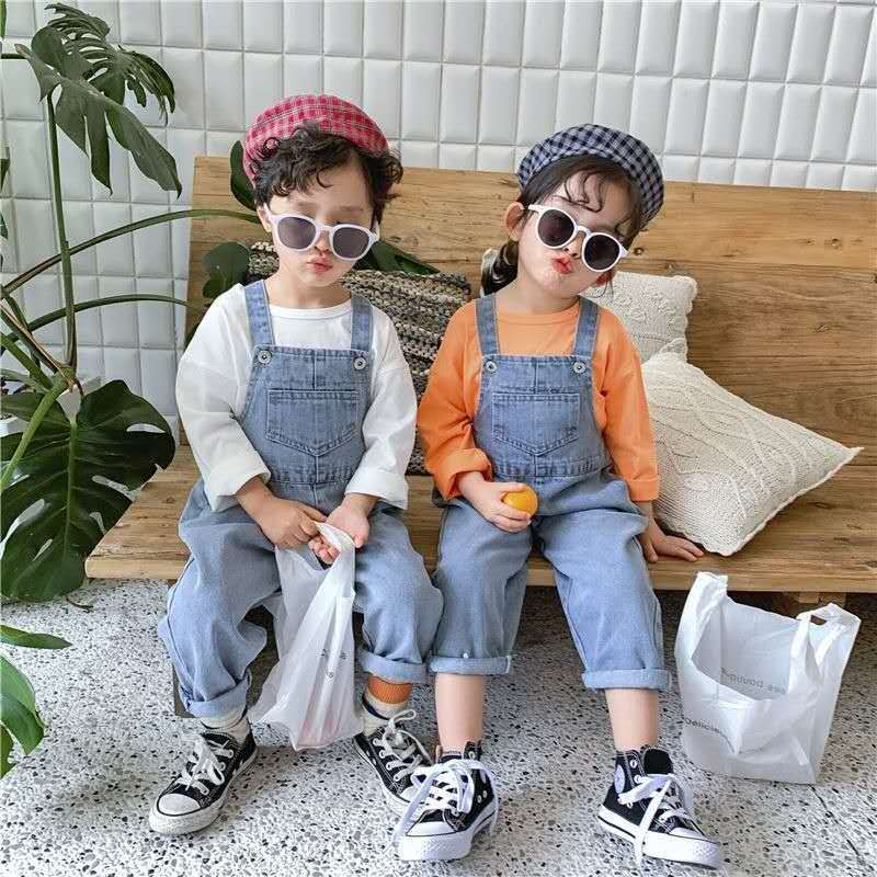 Baby Little Boys Girls Denim Long Jumpsuit Overalls DungareesToddler Infant Kids Girl's Jeans Clothes for 1 2 3 4 5 6 Years|Overalls| - AliExpress