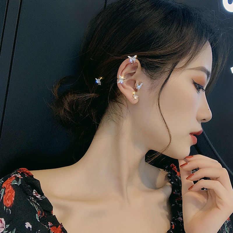 2020 แฟชั่นคริสตัลผีเสื้อคลิปต่างหูผู้หญิงไม่มีเจาะกระดูกอ่อนปลอมน่ารักStatementต่างหูเกาหลีของขวัญ