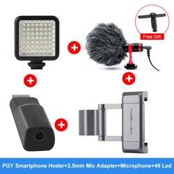 Opcjonalny adapter mikrofonu 3.5mm PGYTECH uchwyt do smartfona zimny uchwyt do butów 49 LED Light mikrofon do akcesoriów kieszonkowych DJI OSMO
