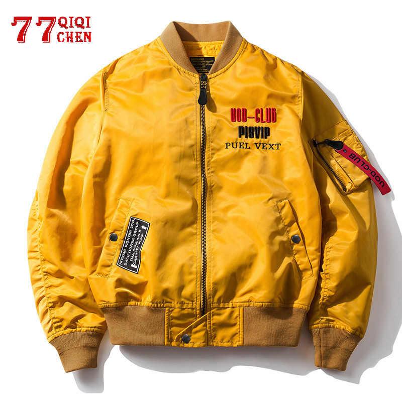 폭격기 재킷 남자 봄 가을 Streetwear 공군 코트 남성 자수 스탠드 칼라 윈드 브레이커 힙합 Chaqueta Hombre