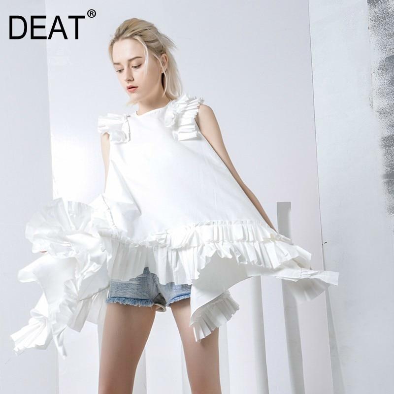 DEAT Women White Ruffles Stitch Asymmetrical Dress New Round Neck Sleeveless Loose Fit Fashion Tide Spring Autumn 2020 JG3100
