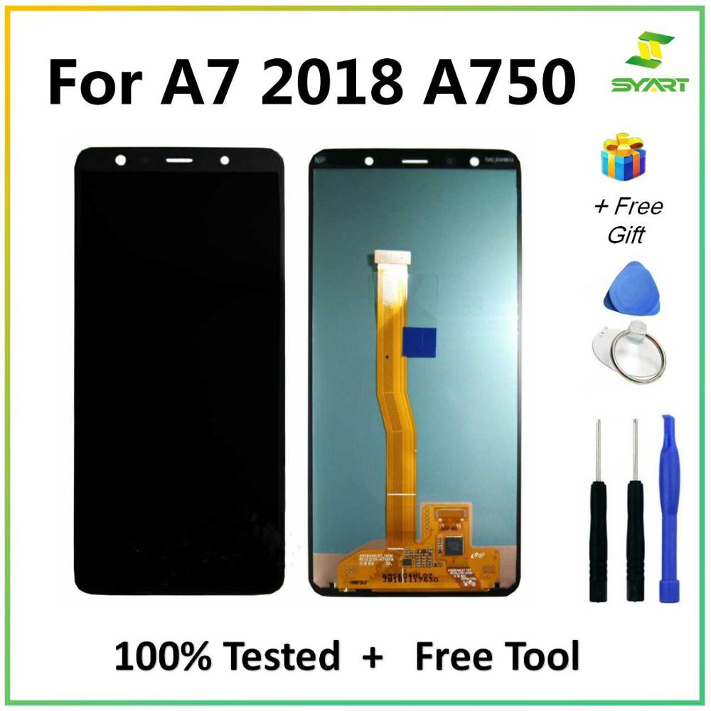 6.0'' Super AMOLED LCD For <font><b>Samsung</b></font> <font><b>Galaxy</b></font> <font><b>A7</b></font> <font><b>2018</b></font> A750 SM-A750F A750F <font><b>Display</b></font> With Touch Screen Assembly Replacement image