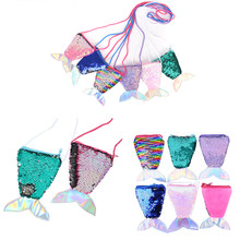 HOT! Mermaid Tail Sequins Coin Purse Crossbody Bags Sling Money Change Card Holder Wallet Purse Bag Pouch For Kids Gifts Girl(China)