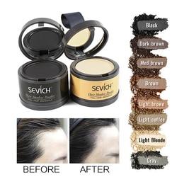 Sevich sombra em pó para cabelo unissex em 4g, maquiagem de fio capilar com cobertura natural e linha fina, produto corretivo natural para perda de cabelo