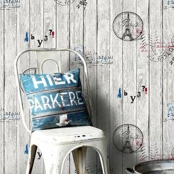 Murales papel pintado Vintage 3d Torre Eiffel Retro tablón de madera pared rollo de papel personalizado letras peladas Bar tienda fondos de pared