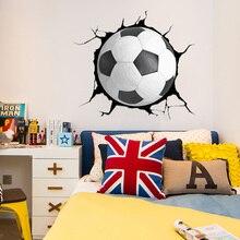 Creative 3D Football Broken Window Sticker Sports  Home Decor Art Pvc Wallpaper Diy Poster Mural Art Soccer Wall Decal scary ghost 3d broken wall art sticker