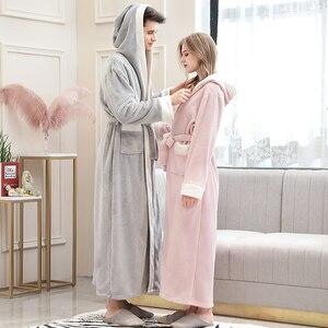 Image 4 - Mężczyźni zima Plus rozmiar długi przytulne flanelowe szlafrok Kimono ciepły koral polar szlafrok noc futro szaty szlafrok bielizna nocna dla kobiet