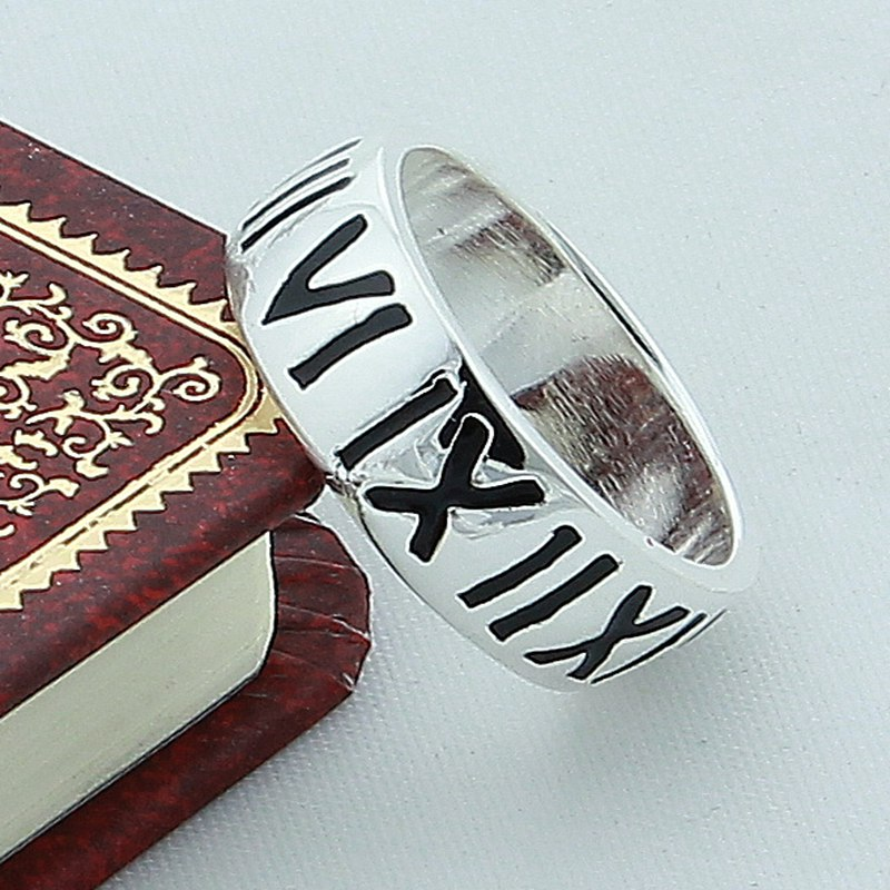 Vintage Roman Numerals Fashion 925 Silver Women Ring High Quality Jewelry Punk Party Man Women Finger Ring Wholesale in Rings from Jewelry Accessories