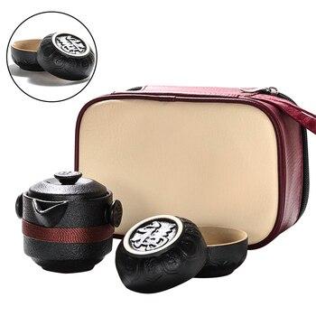 屋外でのホーム黒陶器オフィスバッグコーヒー容器ポータブルセラミック 1 ポット 2 カップ断熱旅行茶セット -