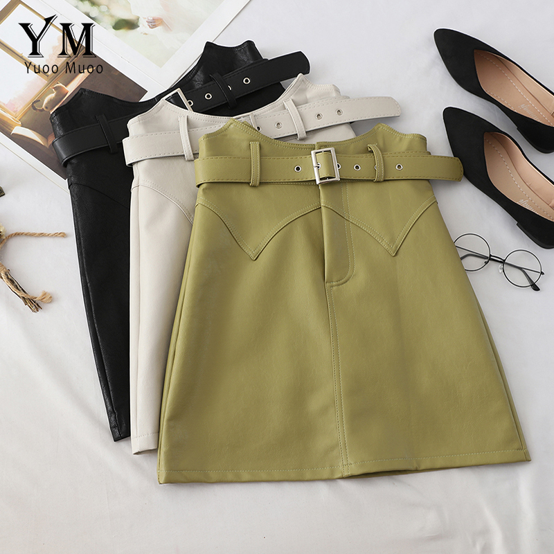 YuooMuoo 2019 New Autumn Irregular High Waist Women Pu Leather Skirt Ladies Mini Office Skirt Elegant A Line Short Green Skirt