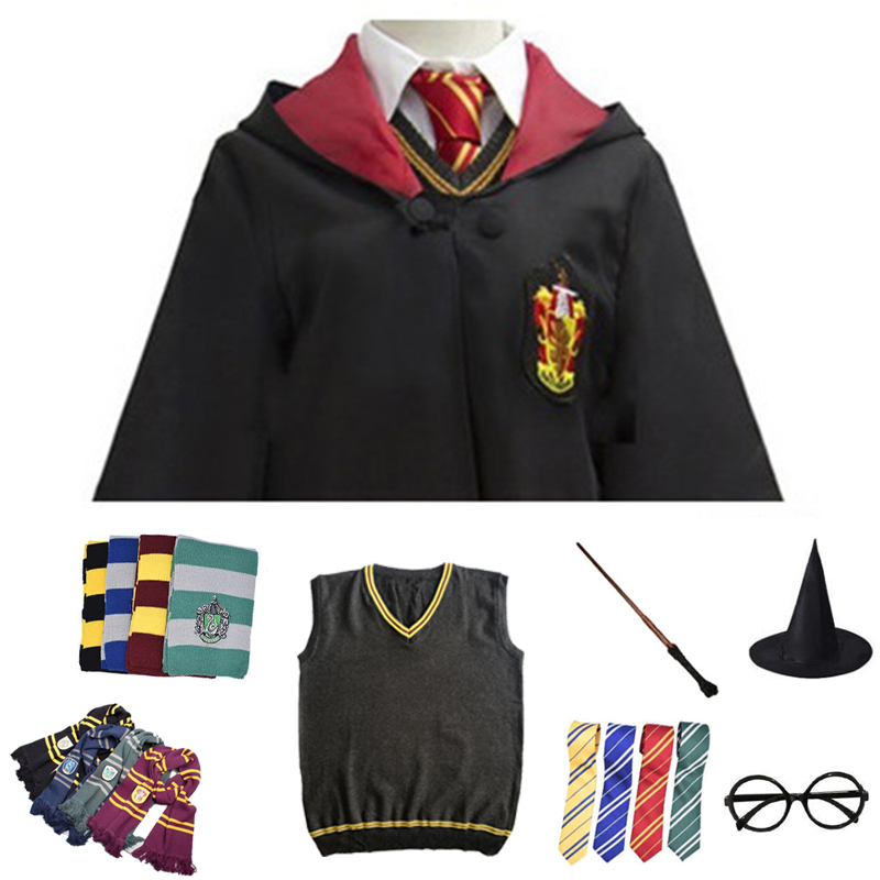 Cosplay Costume Potter Magic Robe Cape Suit Tie Scarf Wand Glasses Gift Potter Cosplay Ravenclaw Gryffindor Hufflepuff Slytherin