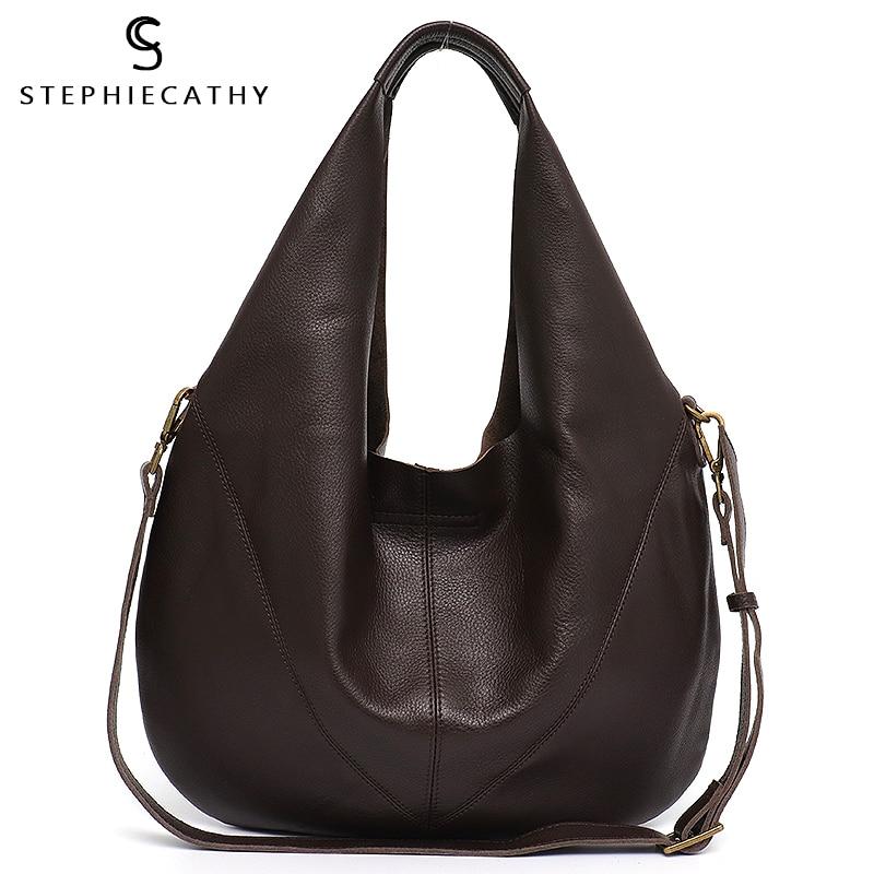 SC Women Luxury Genuine Leather Shoulder Bag 2020 Ladies Real Leather Casual Bucket Large Handbags Vintage Hobo Female Crossbody