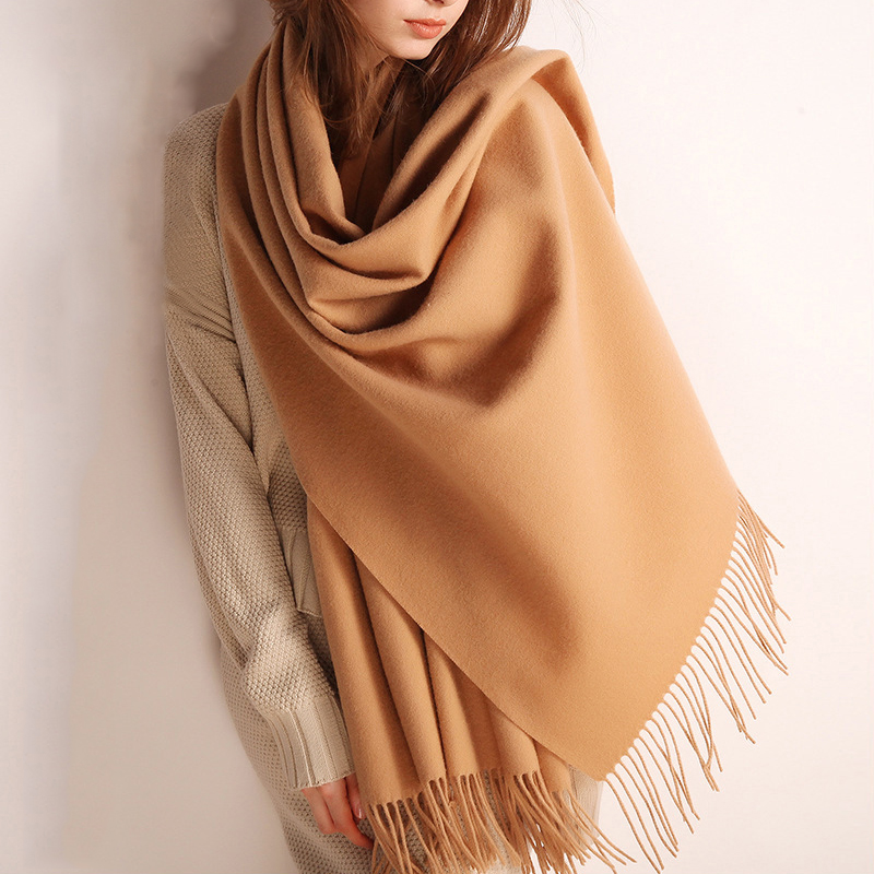 High Quality Cashmere Scarves Women 2019 New Winter Thicken Warm Soft Pashmina Shawls Wraps Solid Female Wool Long Tassel Scarf