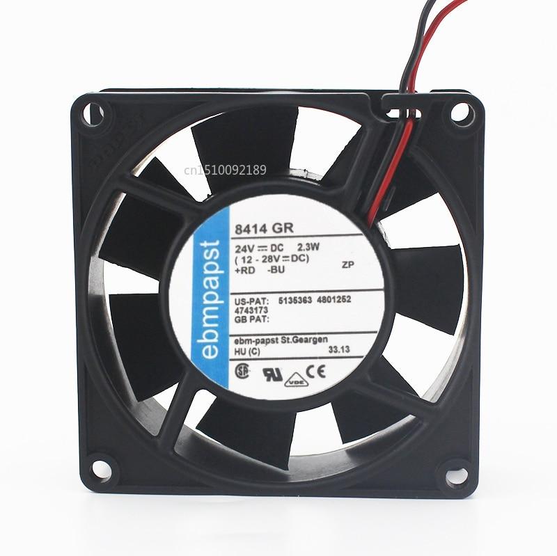 For Ebm Papst 8414 GR 8414GR DC 24V 2.3W 2-wire 80x80x25mm Server Cooler Fan Free Shipping