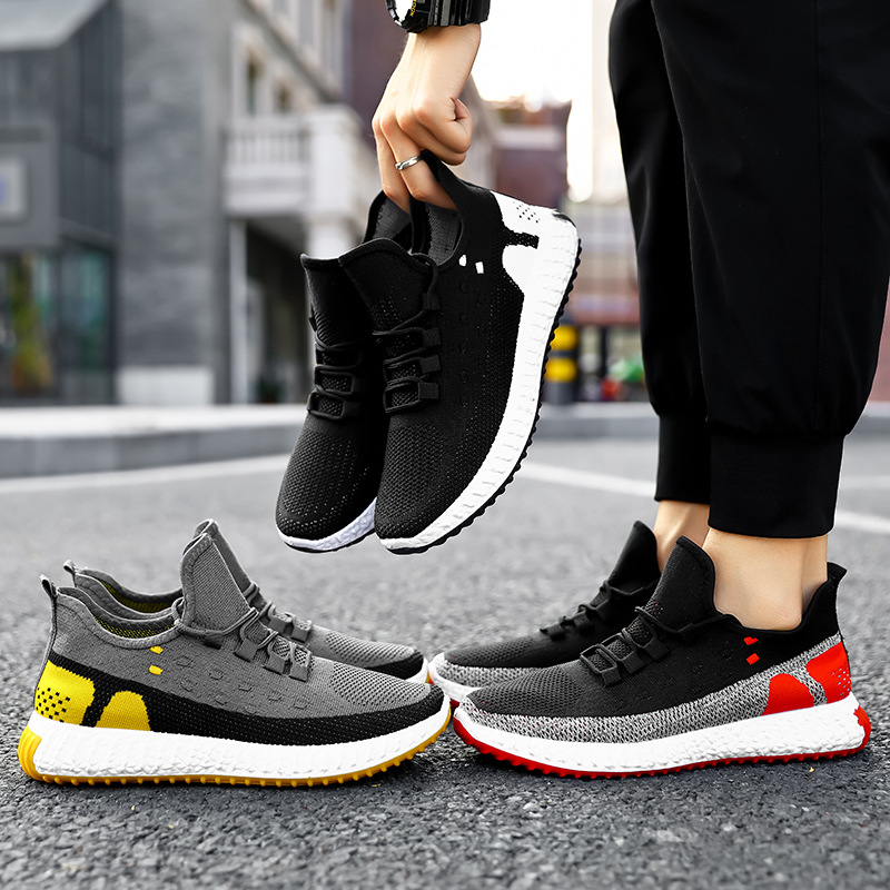 Knit Youth Men Trainers Vulcanize Shoes Mesh Breathabl Slip On Hiking Shoes Walking Men Flats Sneakers Soft Male Running Shoes