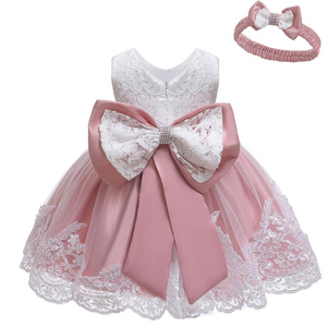 Newborn Clothes Infant Dresses For Baby Girls Wedding Party Princess Dress Baby Lace 1st Year Birthday Dress 3 9 12 18 24 Month(China)