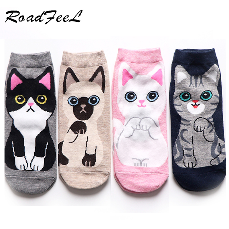 5 Pairs Cartoon Dog Image Cat Cute Socks Women Harajuku Style Animal Socks Cartoon Animal Dog Cat Novelty Style Stocks